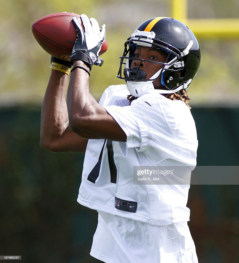Markus Wheaton #11 of the Pittsburgh Steelers participates in drills during Rookie Camp on May 3, 2013 at UPMC Sports Complex in Pittsburgh, Pennsylvania.