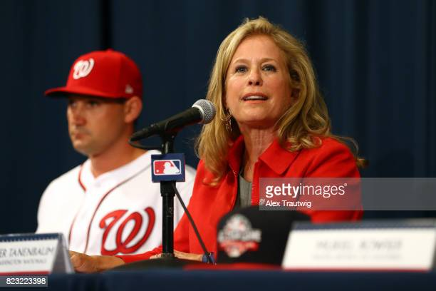 Marla Lerner Tanenbaum Principal Owner of the Washington Nationals speaks during the unveiling of the 2018 AllStar Game logo at Nationals Park on...