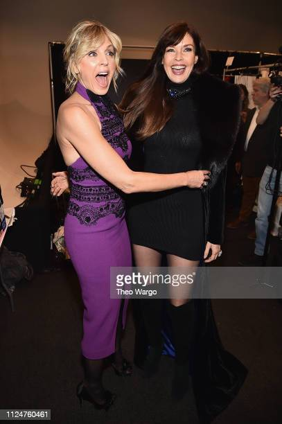 Marla Maples and Carol Alt attend backstage at the Zang Toi show during New York Fashion Week The Shows at Gallery II at Spring Studios on February...