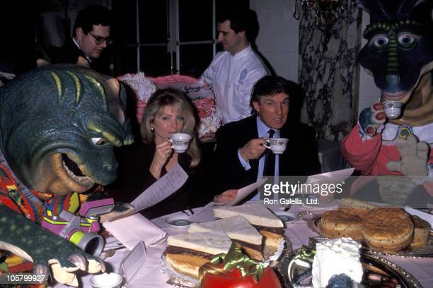 Marla Maples and Donald Trump during ABC's The Dinosaurs Promote Their New Toy Line February 11 1992 at Plaza Hotel in New York City New York United...