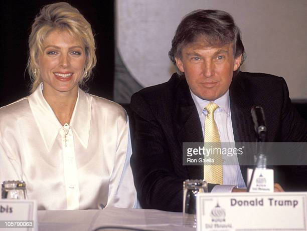 Marla Maples and Donald Trump during ErvingJabbar 1 on 1 Press Conference December 4 1991 at Plaza Hotel in New York City New York United States