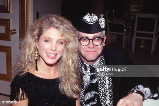 Marla Maples And Singer and Songwriter Elton John at The Taj Mahal Casino Hotel in Atlantic City, New Jersey May 18 1990.