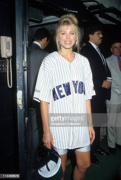Marla Maples poses at Yankee Stadium for a portrait in 1991 in Los Angeles, California.