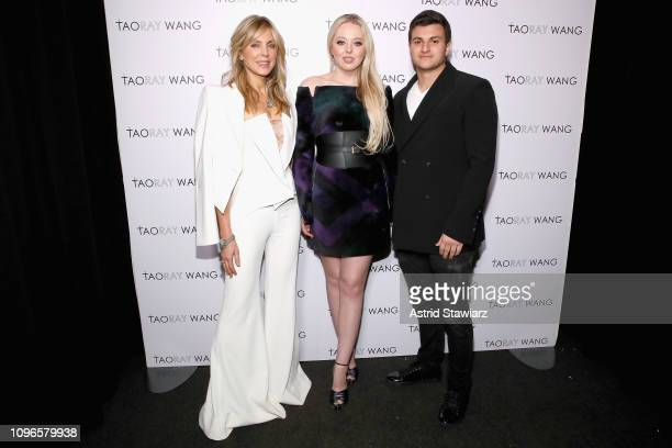 Marla Maples Tiffany Trump and Michael Boulos pose backstage for Taoray Wang fashion show during New York Fashion Week The Shows at Gallery II at...