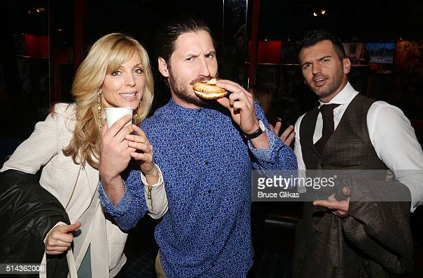 Marla Maples Valentin Chmerkovskiy and Tony Dovolani pose at the 22nd Season Stars of ABC's 'Dancing With The Stars' cast announcement at Planet...