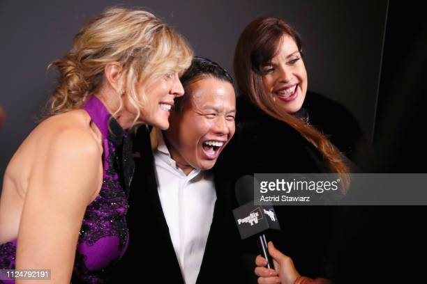 Marla Maples Zang Toi and Carol Alt pose backstage for Zang Toi fashion show during New York Fashion Week The Shows at Gallery II at Spring Studios...