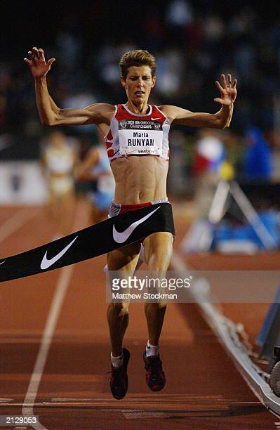 Marla Runyan of Nike crosses the finish line to win the women's 5000m final with a time of 15:16.18 during the 2003 USA Outdoor Track and Field...