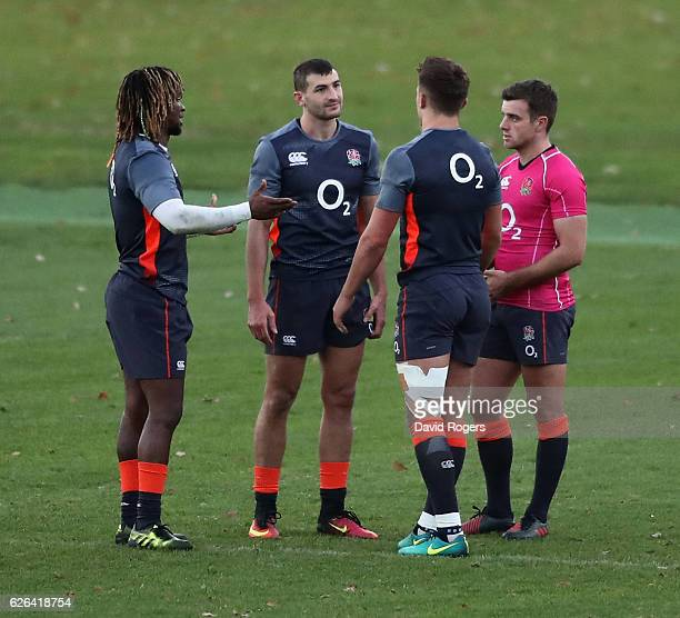 Marland Yarde Jonny May Henry Slade and George Ford look on during the England training session held at Pennyhill Park on November 29 2016 in Bagshot...