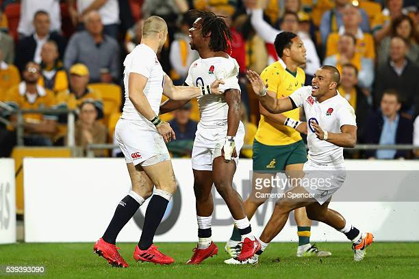 Marland Yarde of England celebrates scoring a try with team mates during the International Test match between the Australian Wallabies and England at...