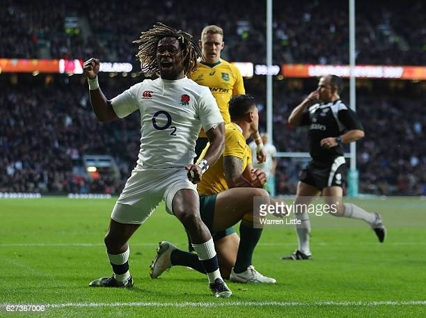 Marland Yarde of England celebrates scoring his sides second try during the Old Mutual Wealth Series match between England and Australia at...