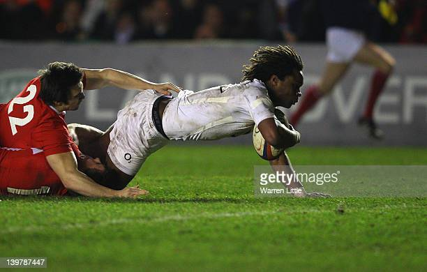 Marland Yarde of England scores a try during the RBS Under-20 Six Nations match between England-U20 and Wales-U20 at Twickenham Stoop on February 24,...