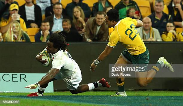 Marland Yarde of England scores their second try during the International Test match between the Australian Wallabies and England at Suncorp Stadium...