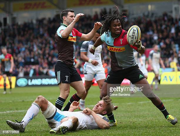 Marland Yarde of Harlequins celebrates scoring a try during the Aviva Premiership match between Harlequins and Newcastle Falcons at Twickenham Stoop...