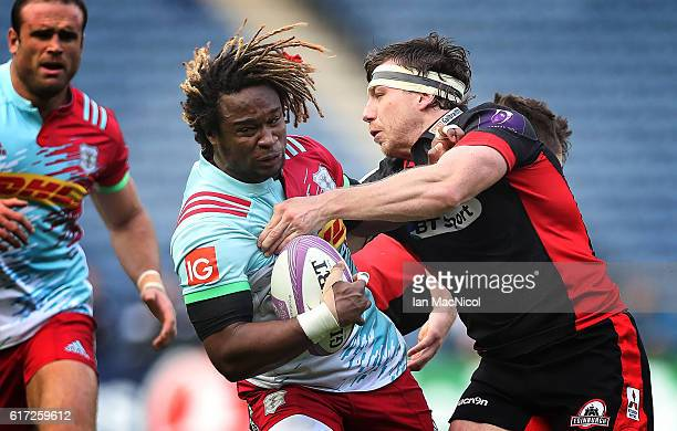 Marland Yarde of Harlequins is tackled by Hamish Watson of Edinburgh during the European Rugby Challenge Cup match between Edinburgh and Harlequins...