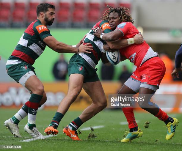 Marland Yarde of Sale Sharks is tackled by Adam Thompstone during the Gallagher Premiership Rugby match between Leicester Tigers and Sale Sharks at...
