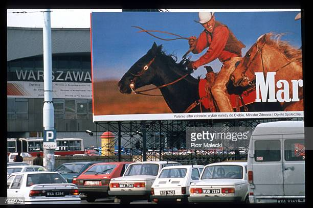 Marlboro advertisement billboard is on display December 1 1996 in Warsaw Poland One in three persons smokes in Poland contributing to an annual...