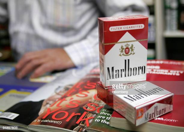 Marlboro brand cigarettes are arranged on the counter of a store in New York on Tuesday October 18 2005 Altria Group Inc parent of cigarettemaker...