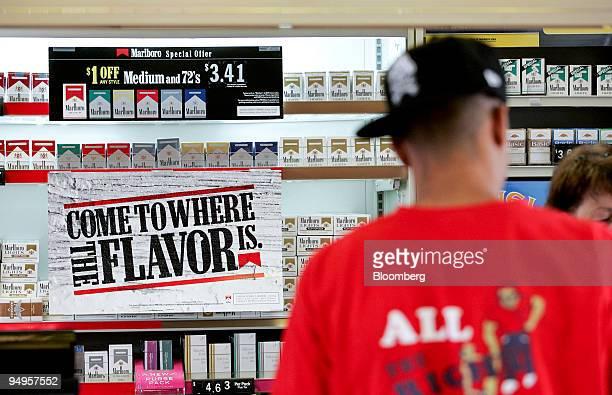Marlboro cigarettes sit on display in Garner North Carolina US on Monday June 15 2009 Altria Group Inc the maker of Marlboro cigarettes is the...