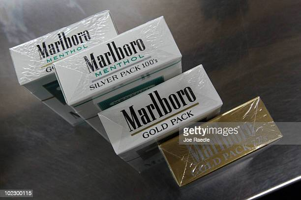 Marlboro cigarettes with the new labeling system are seen at the Quick Stop store on June 22 2010 in Miami Florida Today the Food and Drug...