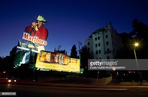 Marlboro cowboy billboard on Sunset Boulevard