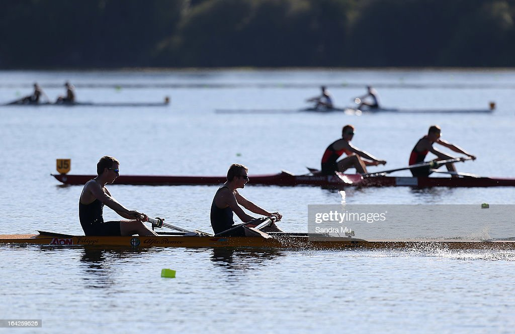 Marlborough Boys College row in the boys U18 coxless pair final during day five of the Maadi Cup at Lake Karapiro on March 22, 2013 in Cambridge, New Zealand.
