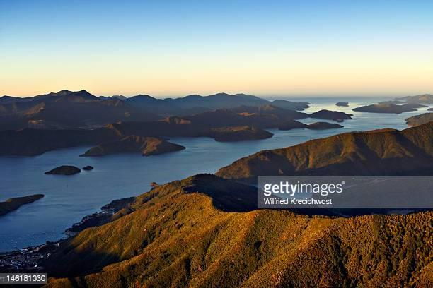 Marlborough Sound, New Zealand, at sunset
