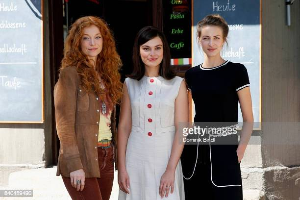Marleen Lohse Silvia Busuioc and Natalia Belitski poses during the set visit of the ZDF show 'Bella Germania' on August 29 2017 in Munich Germany
