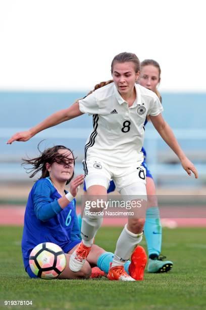 Marleen Rohde of Girls Germany U16 challenges Bondil van den Heuvel of Girls Netherllands U16 during UEFA Development Tournament match between U16...