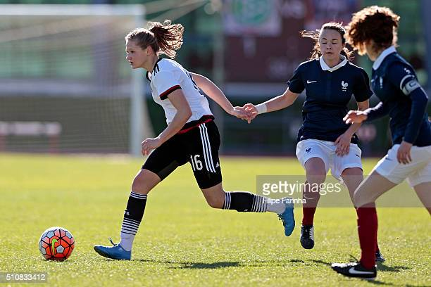 Marleen Schimmer of Germany challenges Juliette Chotard and Lauréne Martin of France during the match of the U16 Girl's Germany v U16 Girl's France...