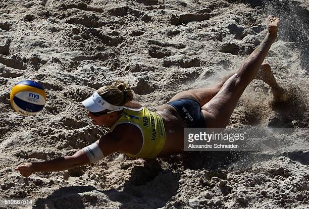 Marleen Van Iersel of Netherland in action during the quarters final match against germany at Pajucara beach during day five of the FIVB Beach...