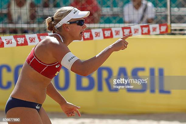 Marleen Van Iersel of Netherlands reacts during main draw match against Vanuatu during the FIVB Fortaleza Open on Futuro Beach on April 30 2016 in...