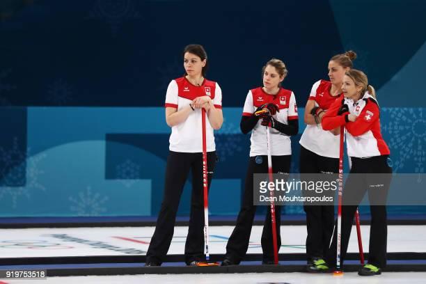 Marlene Albrecht Manuela Siegrist Esther Neuenschwander and Silvana Tirinzoni of Switzerland compete during the Women Curling round robin session 7...