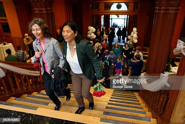 Marlene Beggelman left and Priscilla Lee right were at a Gay Marriage celebration at Cambridge City Hall They were at the celebration to take part in...