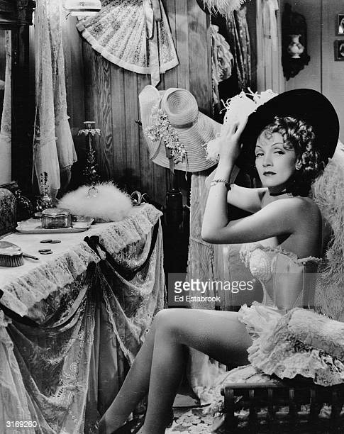 Marlene Dietrich as Frenchy in a scene from the film 'Destry Rides Again', directed by George Marshall.