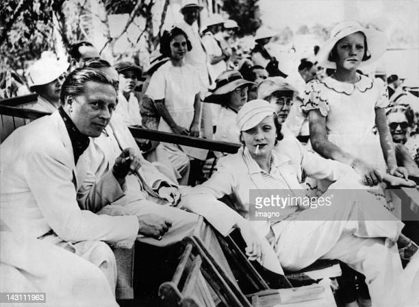 Marlene Dietrich her daughter Maria and her husband Rudolf Sieber watching a Polo game Los Angeles Photograph About 1935