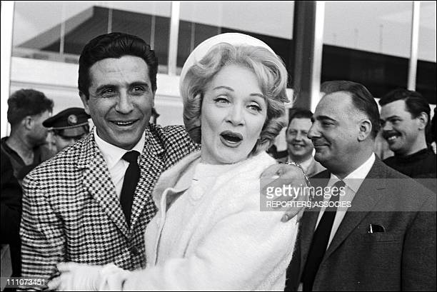 Marlene Dietrich with Gilbert Becaud and Bruno Coquatrix in Paris France in May 1962