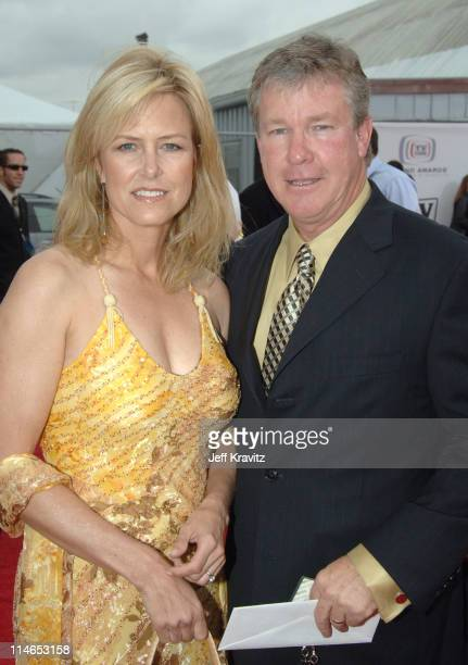 Marlene Harmon and Larry Wilcox during 2005 TV Land Awards Red Carpet at Barker Hangar in Santa Monica California United States