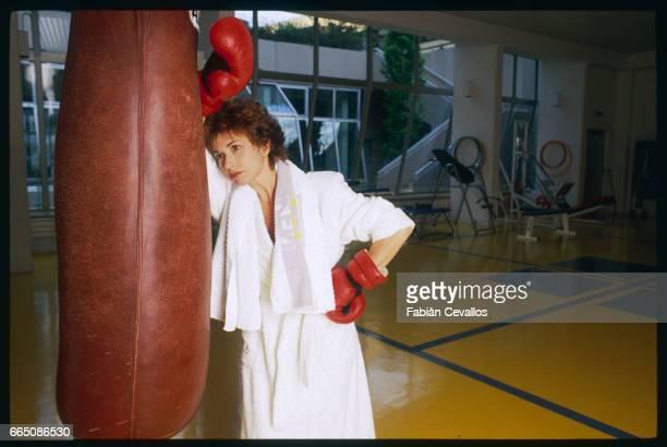 Marlene Jobert boxing at the Ken Club in Paris
