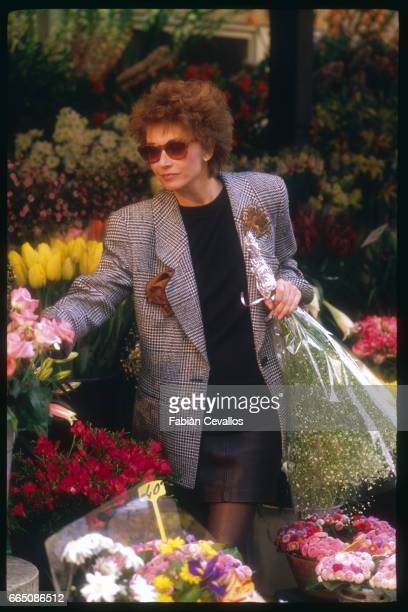 Marlene Jobert in a flower market