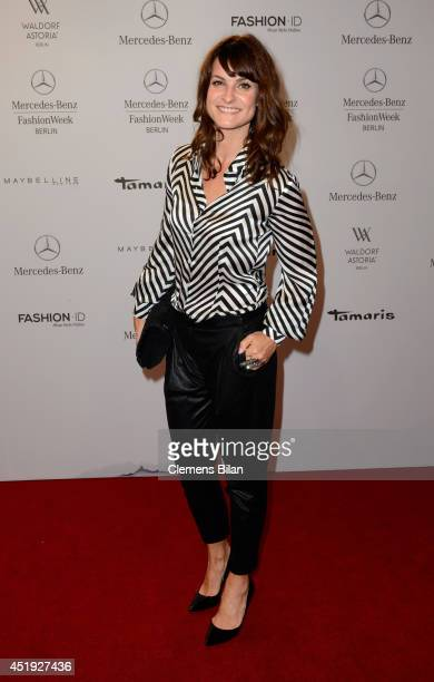 Marlene Lufen attends the Guido Maria Kretschmer show during the MercedesBenz Fashion Week Spring/Summer 2015 at Erika Hess Eisstadion on July 9 2014...
