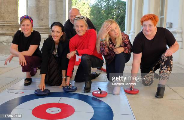 Marlene Morreis, Maddalena Hirschal, Peter Faerber, Katharina Zechner, Katharina Strasser and Veronika Polly pose during the 'Curling For Eisenstadt'...