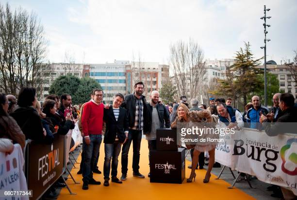 Marlene Mourreau Julius Alejandro Ibanez and Manuel Galiana attends `Chicho Ibanez Serrador Visiones de Futuro' orange carpet in Burgos on March 30...