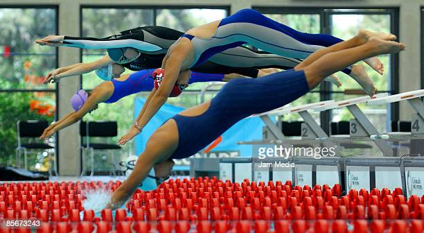 Marlene Sanchez of Mexico and Abigail Garzo of Guatemala in action during the Modern Pentathlon World Cup at the High Performance National Center on...