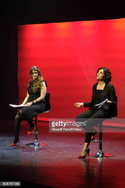 Marlene Schiappa and Myriam El Khomri perform Les Monologues du Vagin during 'Paroles Citoyennes 10 shows to wonder about the society' at Bobino on...