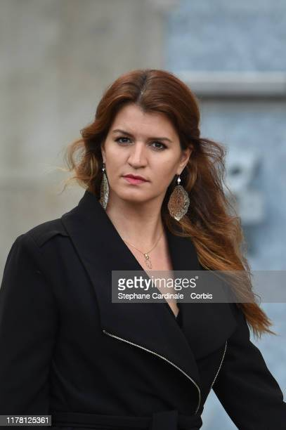 Marlene Schiappa arrives to attend a church service for former French President Jacques Chirac at Eglise Saint-Sulpice on September 30, 2019 in...