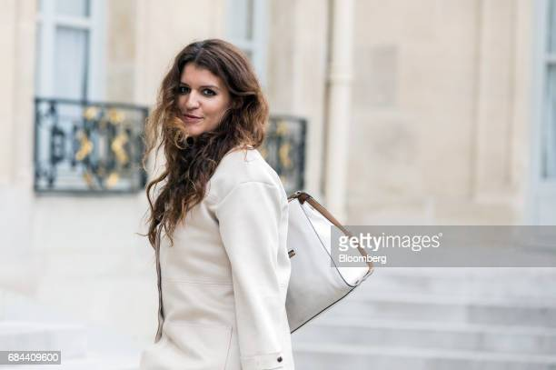 Marlene Schiappa France's junior minister for gender equality arrives for a cabinet meeting at the Elysee Palace in Paris France on Thursday May 18...