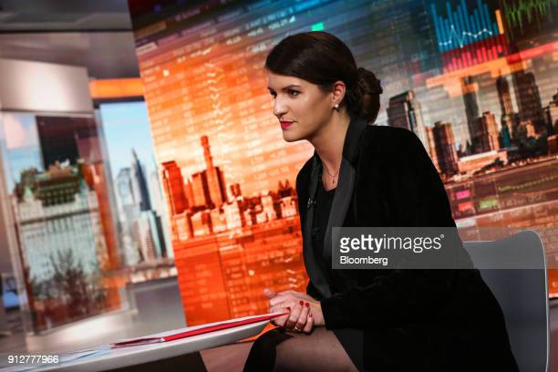 Marlene Schiappa France's minister for gender equality listens during a Bloomberg Television interview in New York US on Wednesday Jan 31 2018...
