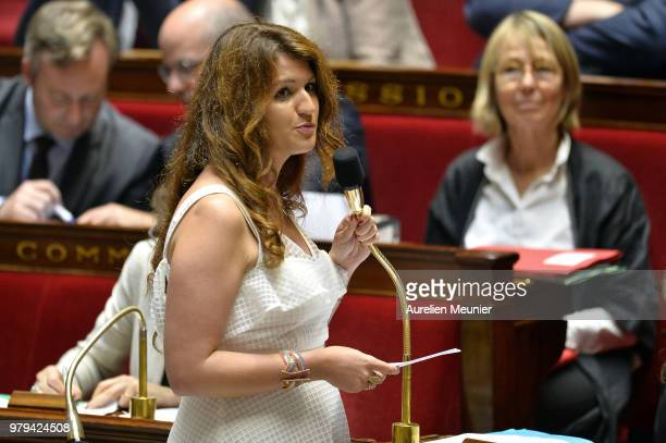 Marlene Schiappa, French Minister of State for Gender Equality, attached to the Prime Minister answers deputies during the weekly session of...