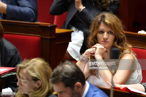 Marlene Schiappa French Minister of State for Gender Equality attached to the Prime Minister reacts as ministers answer deputies during the weekly...