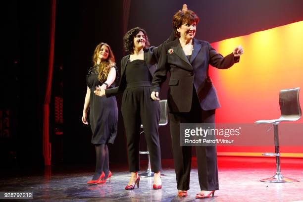 Marlene Schiappa Myriam El Khomri and Roselyne Bachelot perform Les Monologues du Vagin during 'Paroles Citoyennes 10 shows to wonder about the...